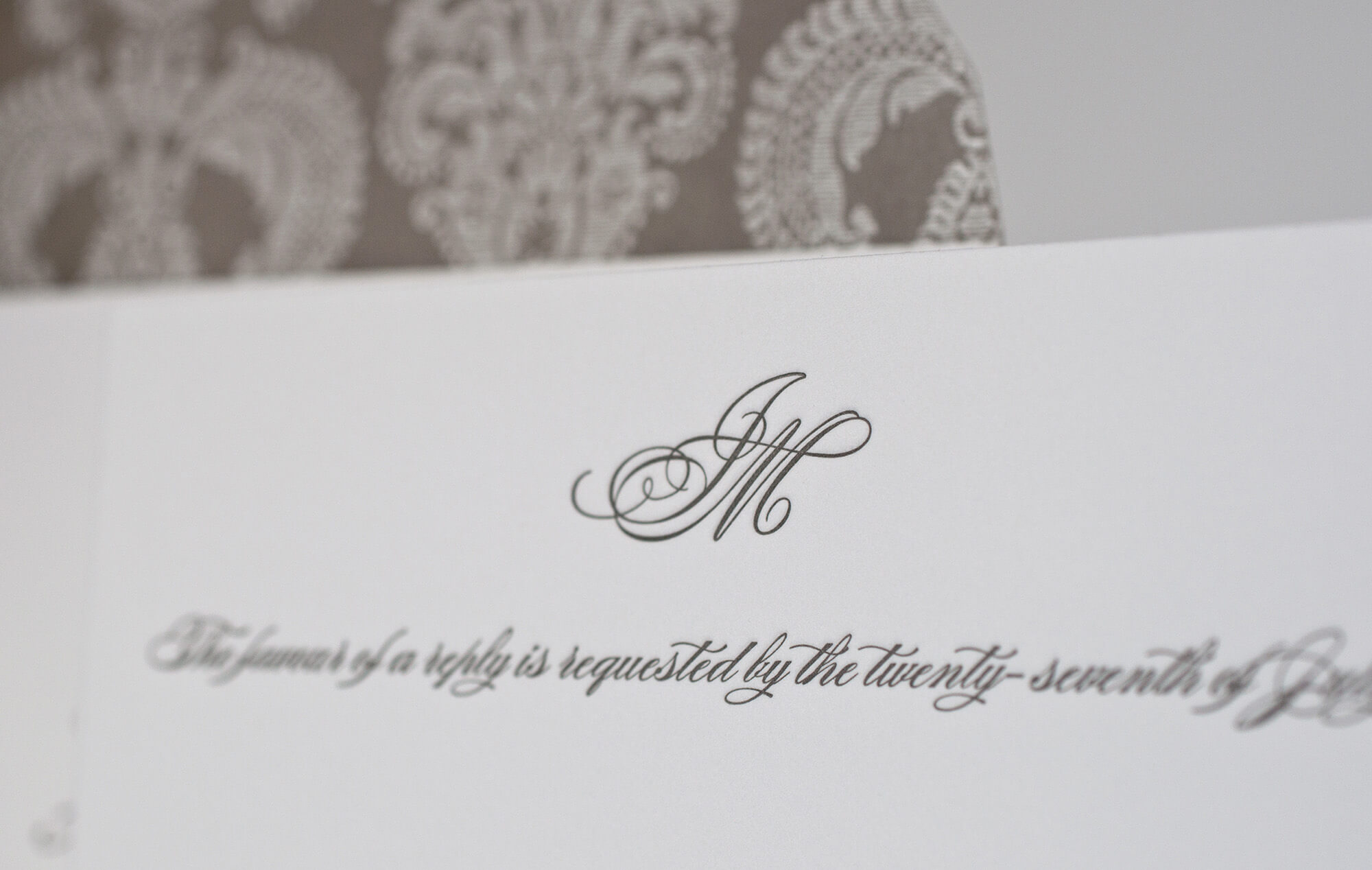 Letterpress monogram on reply card