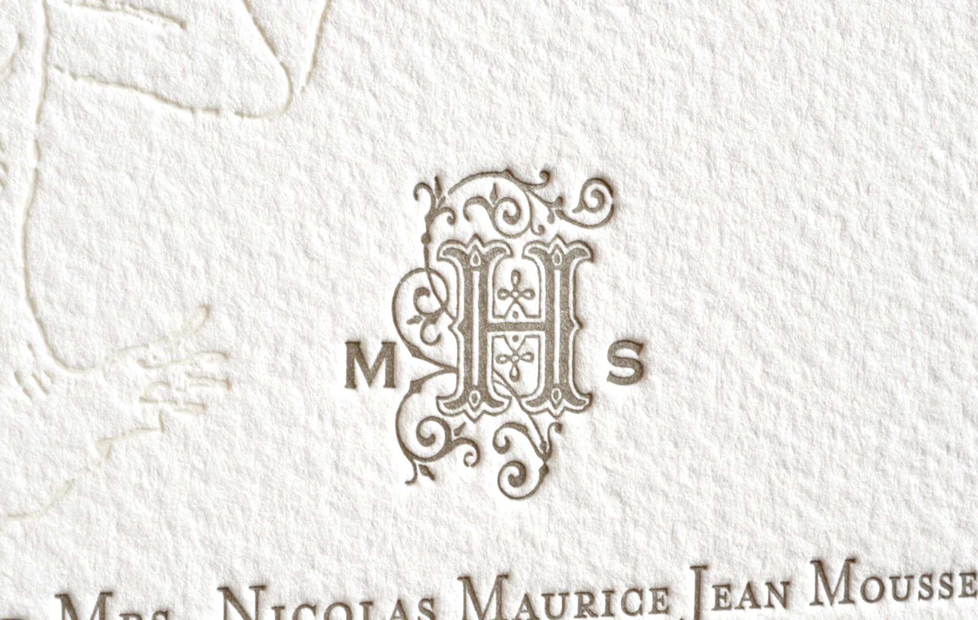 Letterpress vintage inspired monogram