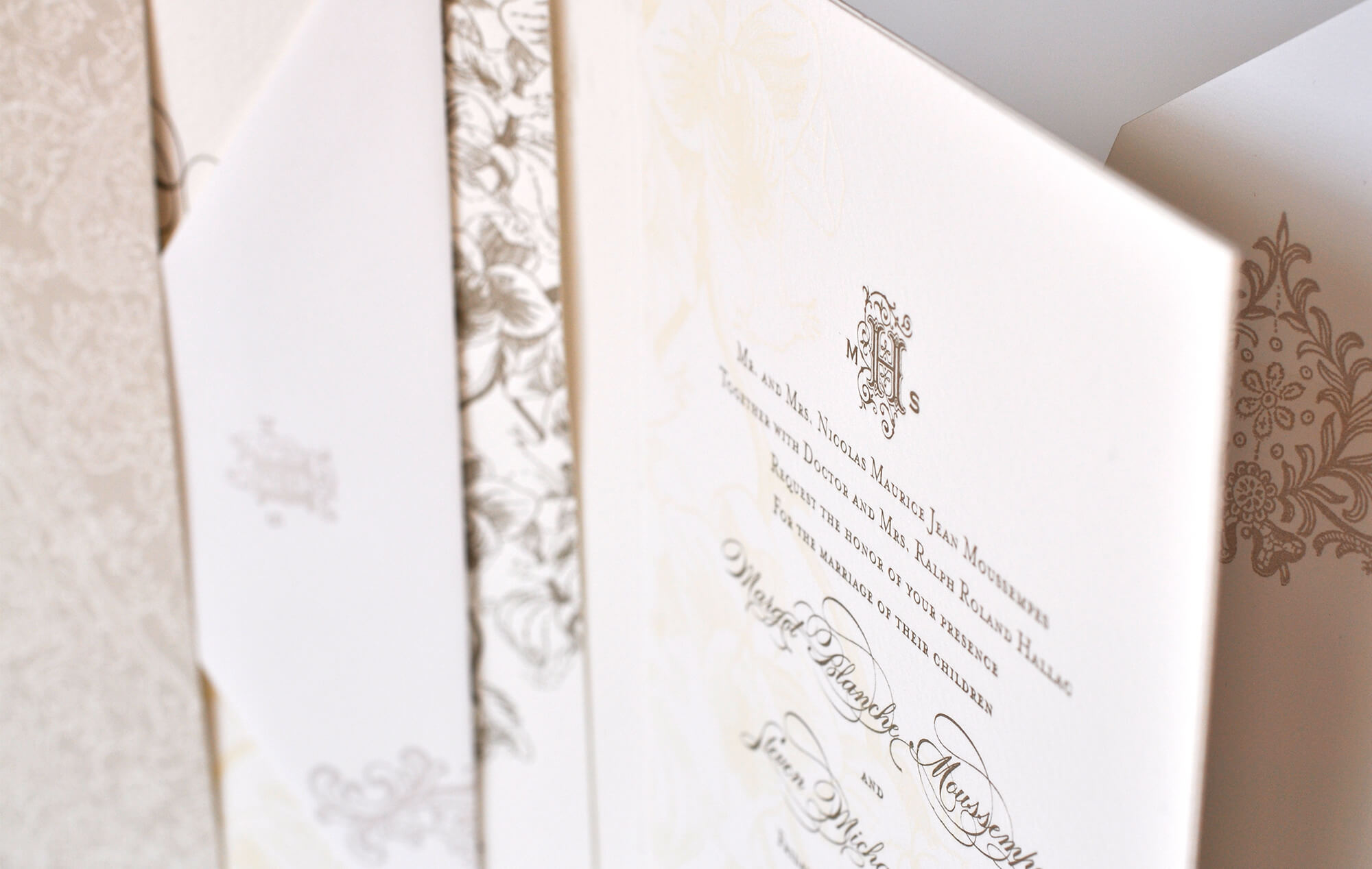 Letterpress wedding invitation folder