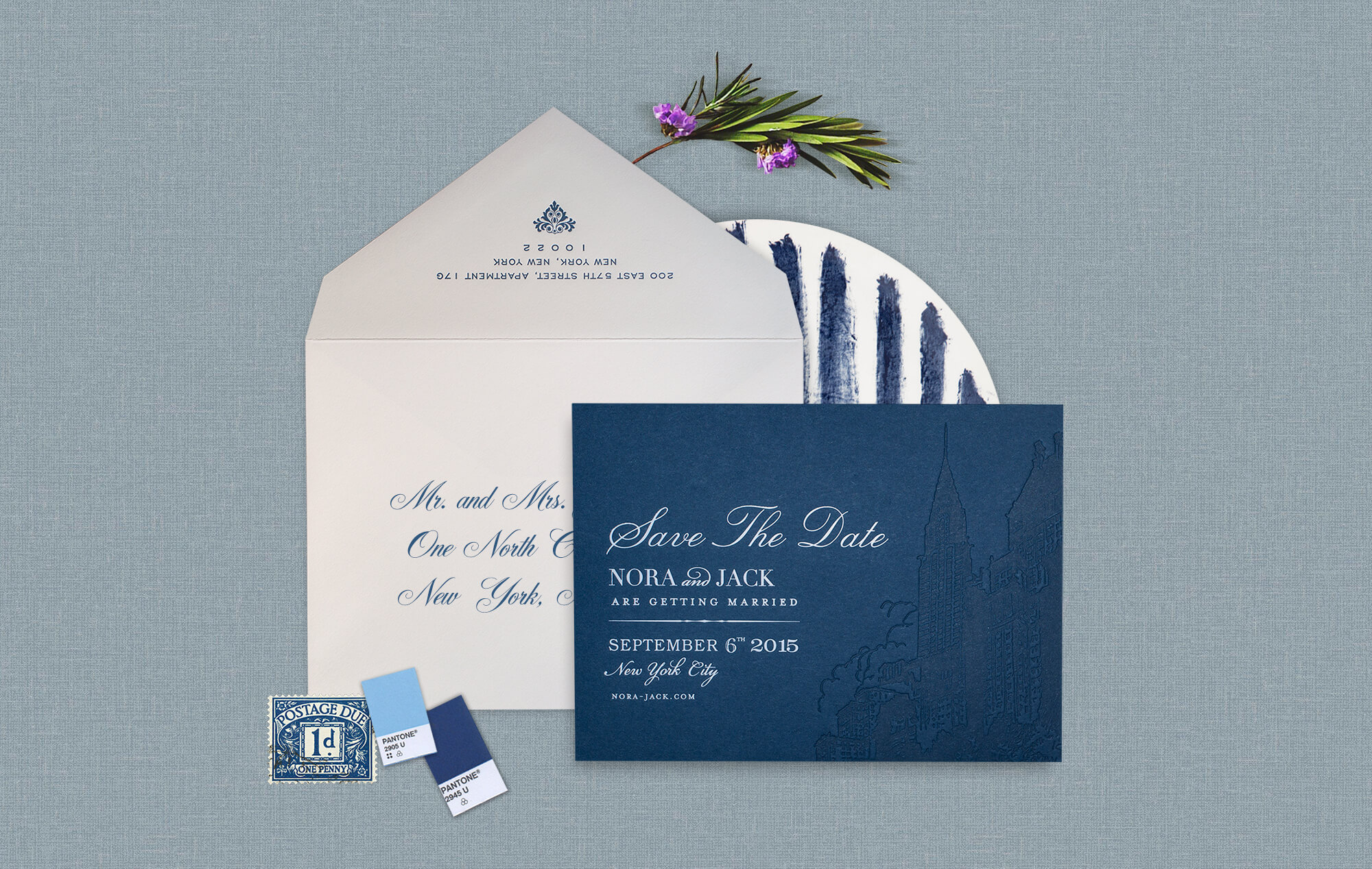 Blue and white NYC skyline wedding save the date