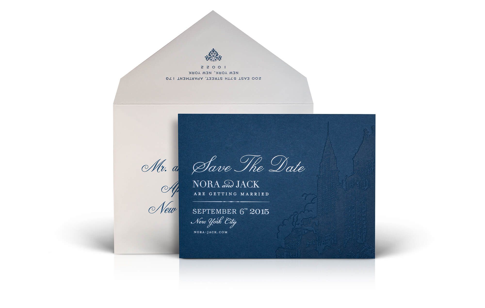 Navy New York City save the date and envelope
