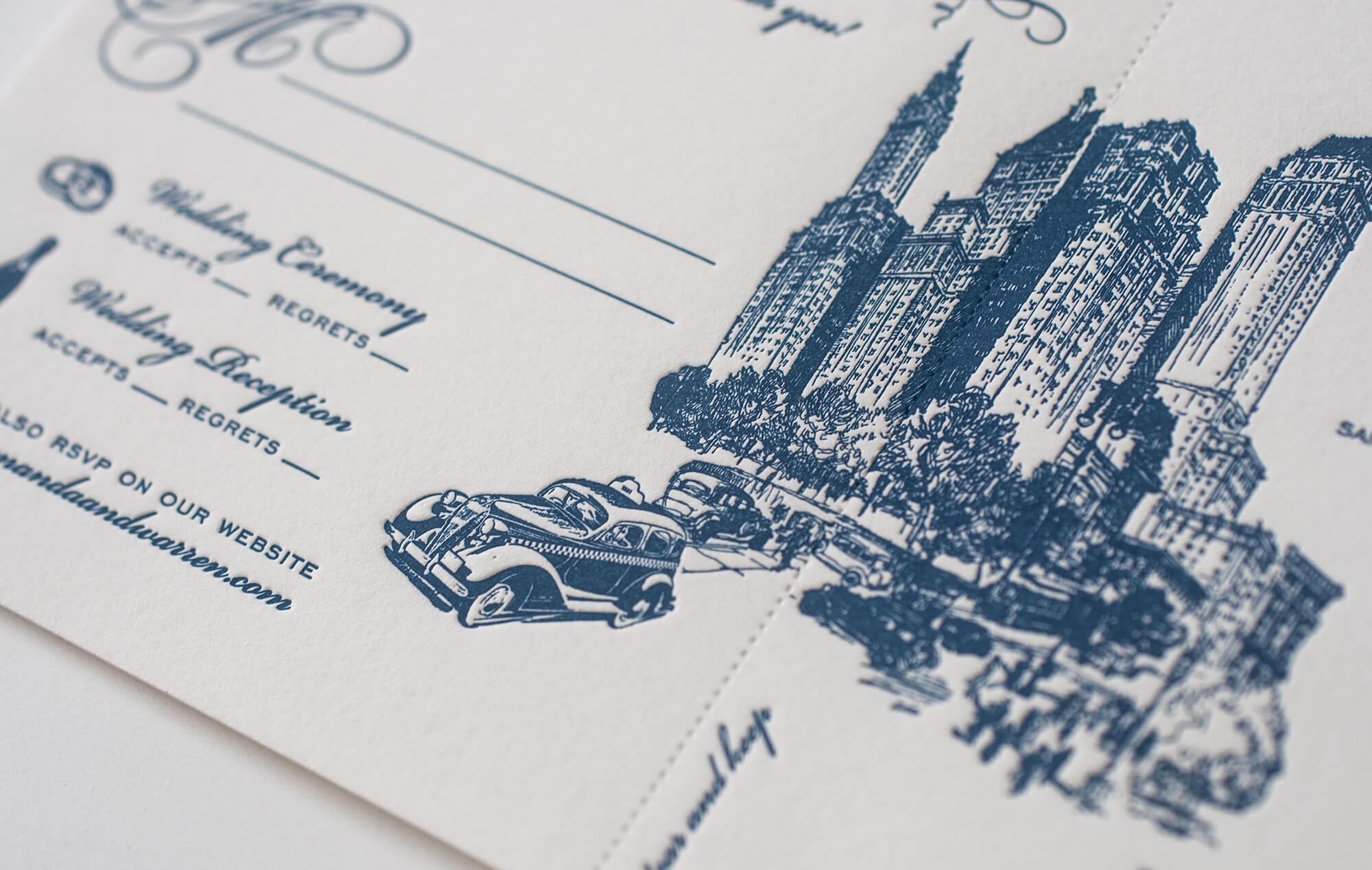 Navy blue letterpress NYC skyline and taxi