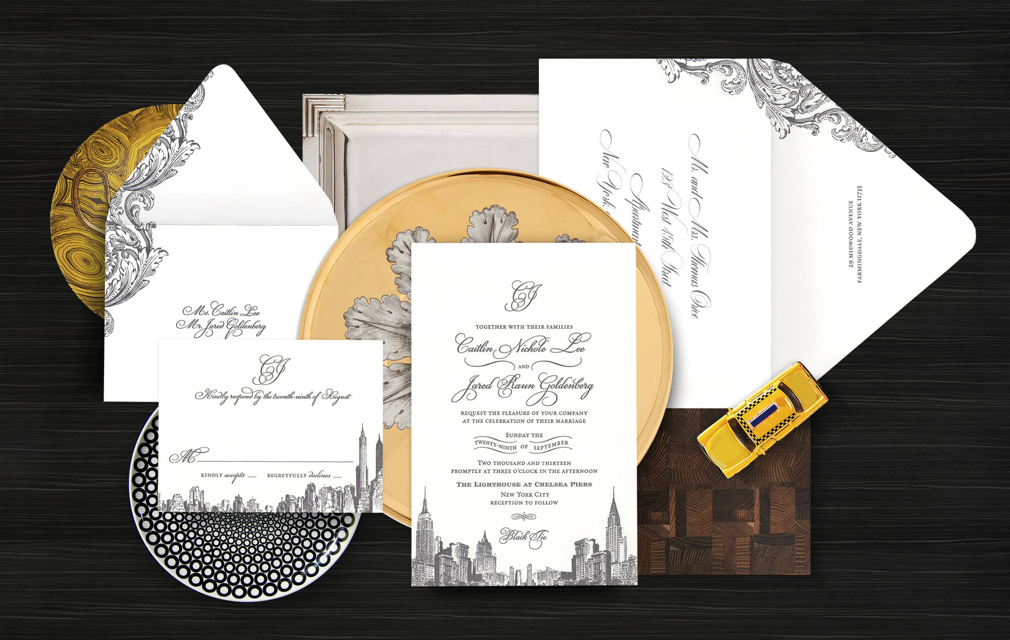 New York City skyline wedding invitation