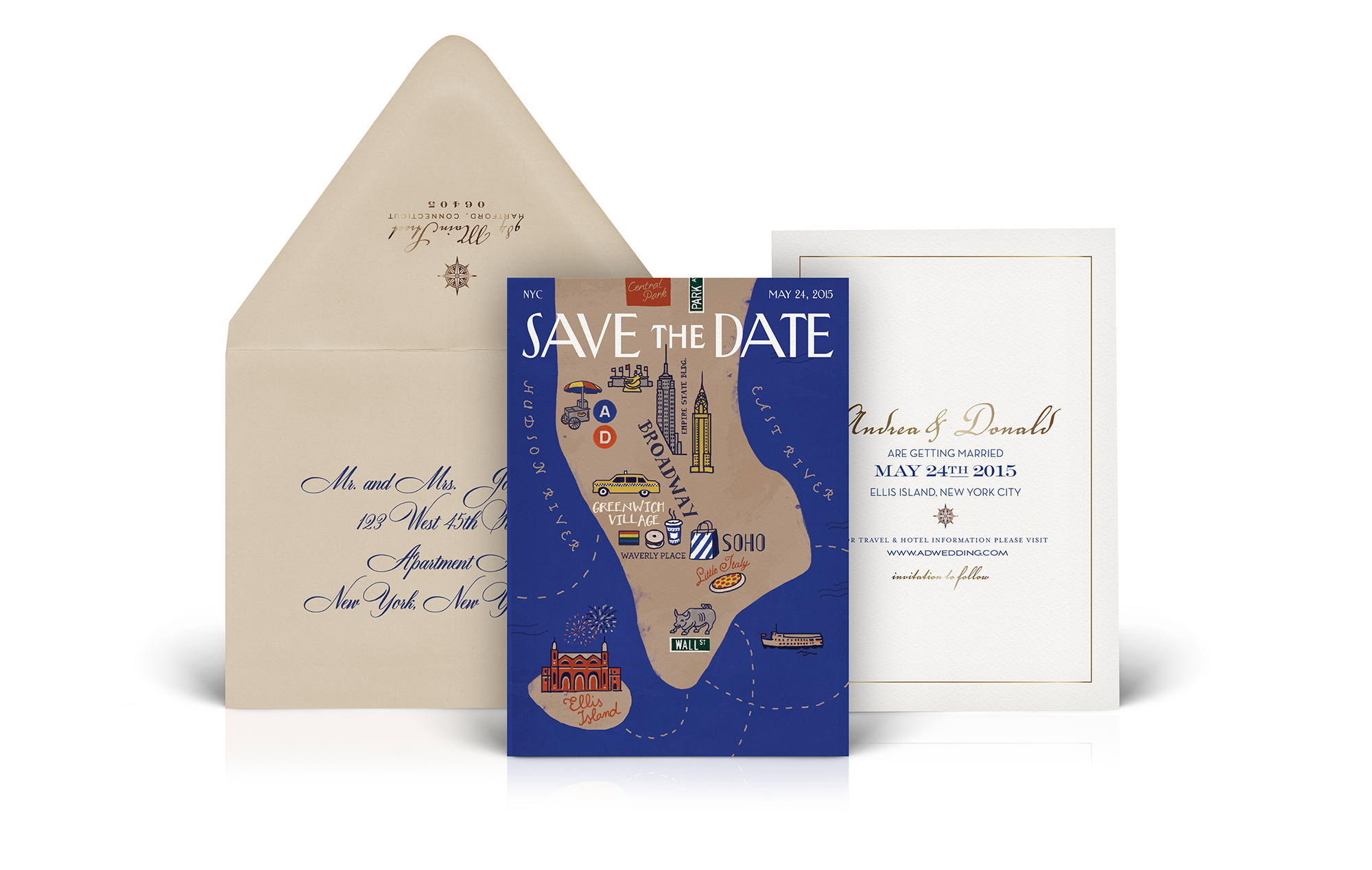 The New Yorker magazine inspired save the date