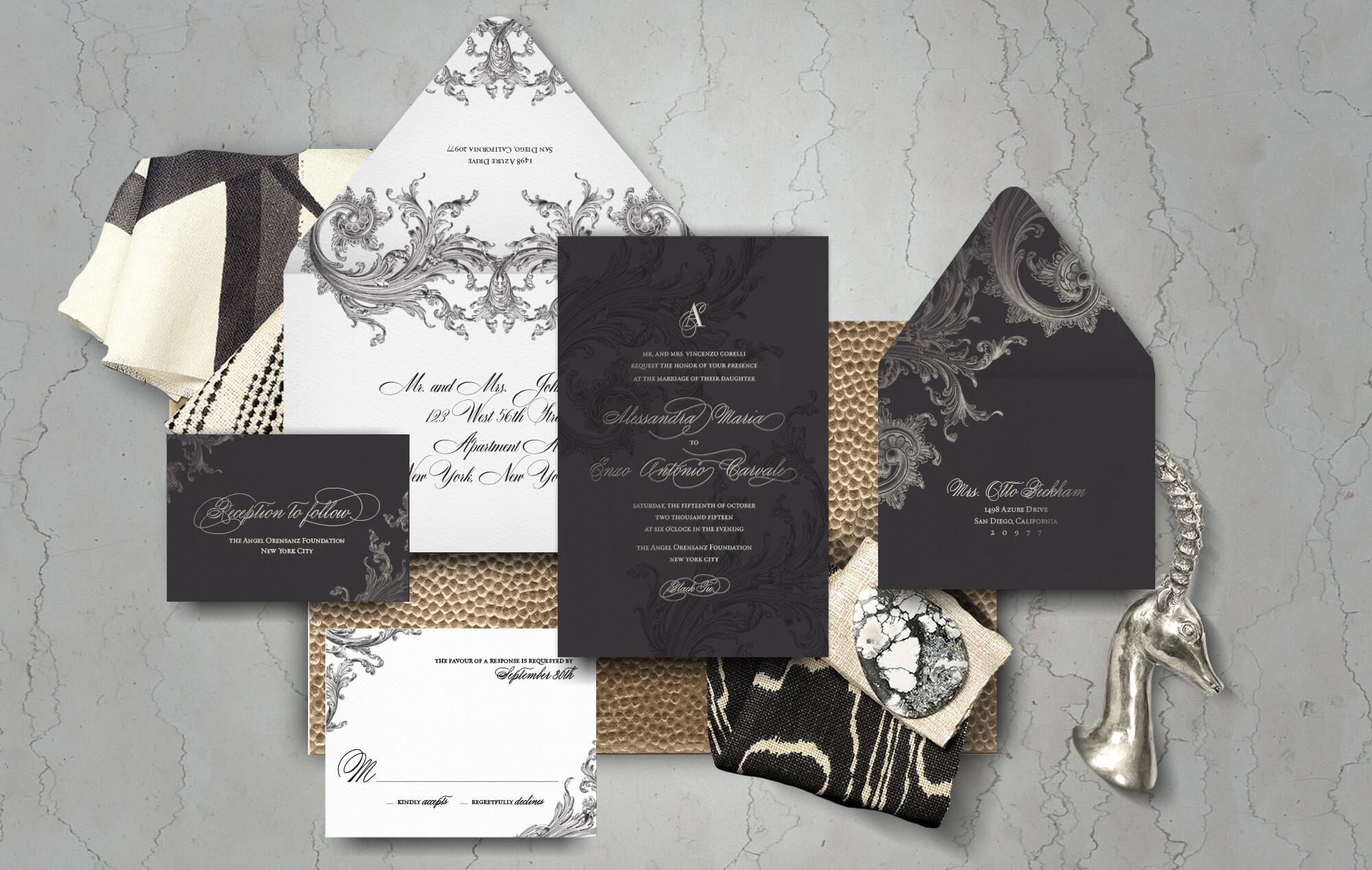 Black and silver scrollwork wedding invitation