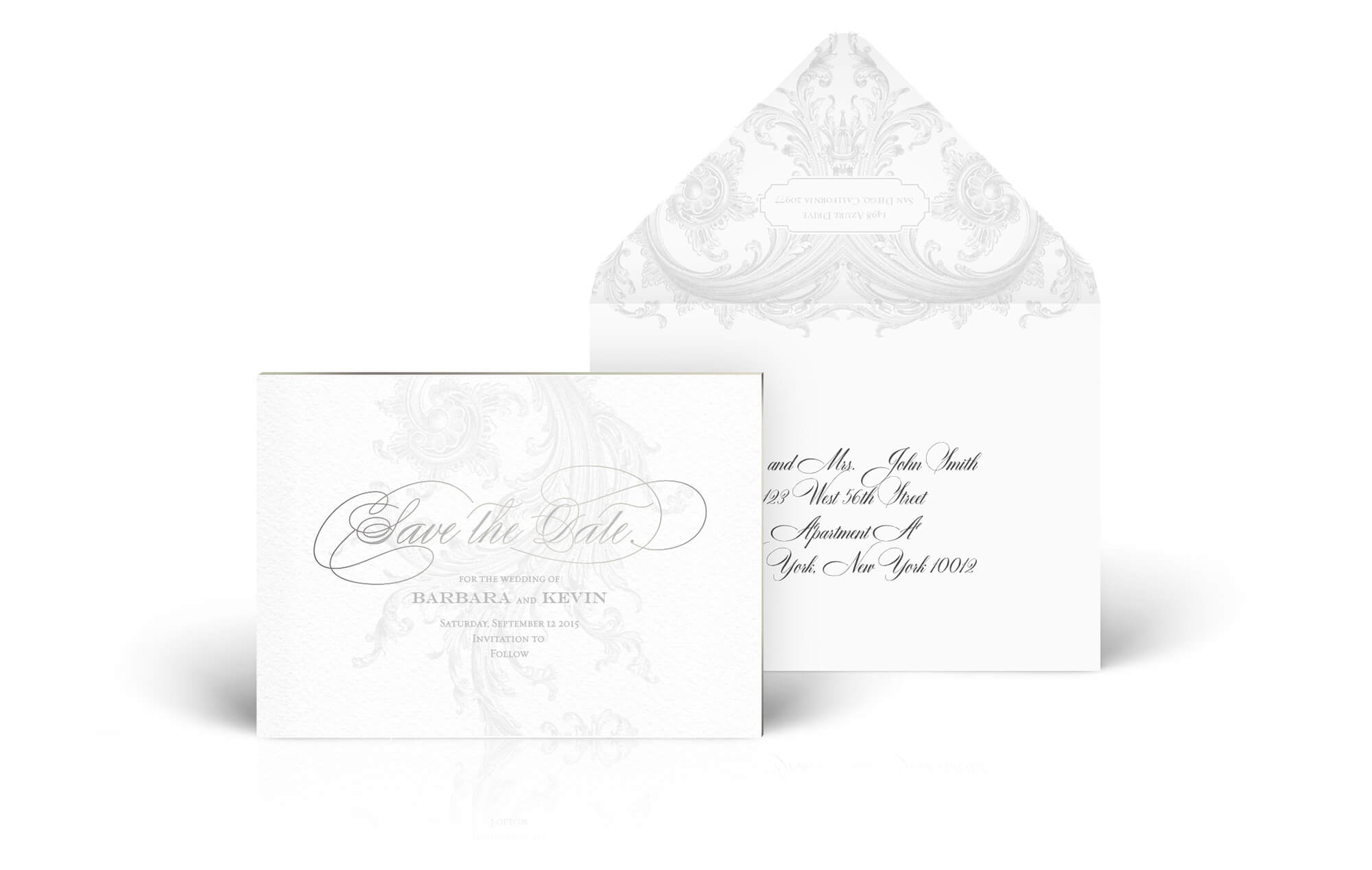 Ornate flourished save the date