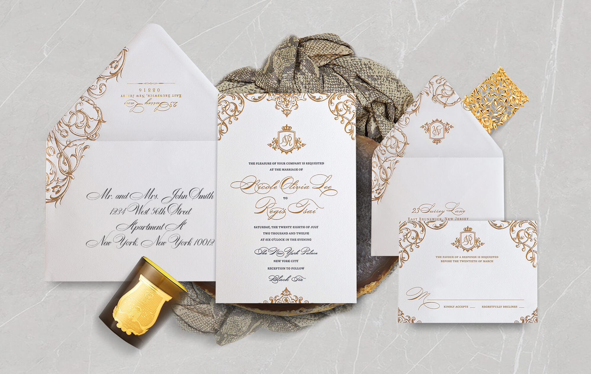 Ornate gold luxury wedding invitation