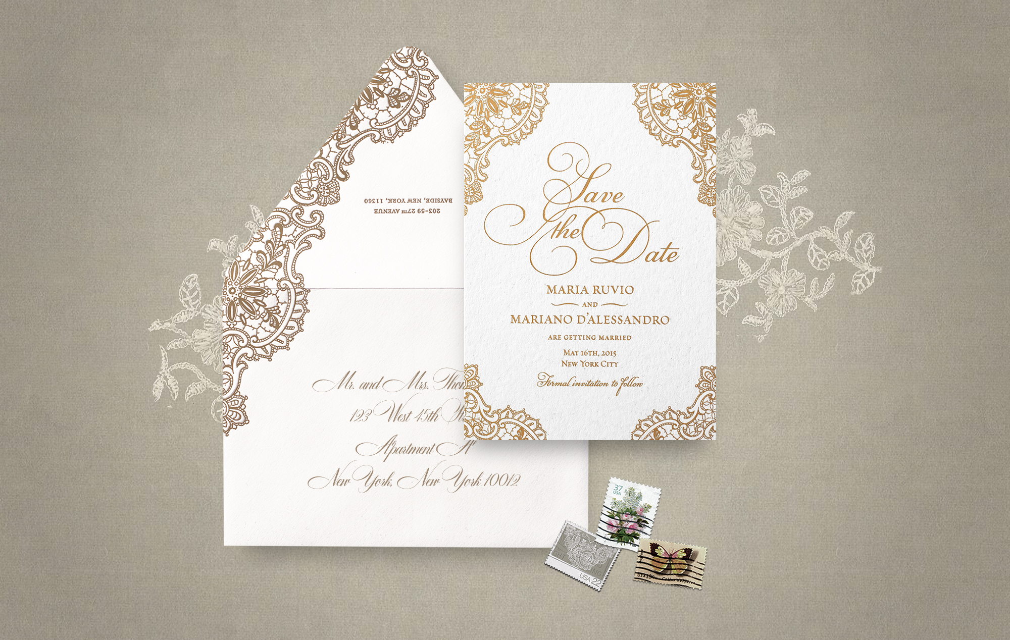 Ornate gold lace save the date and envelope