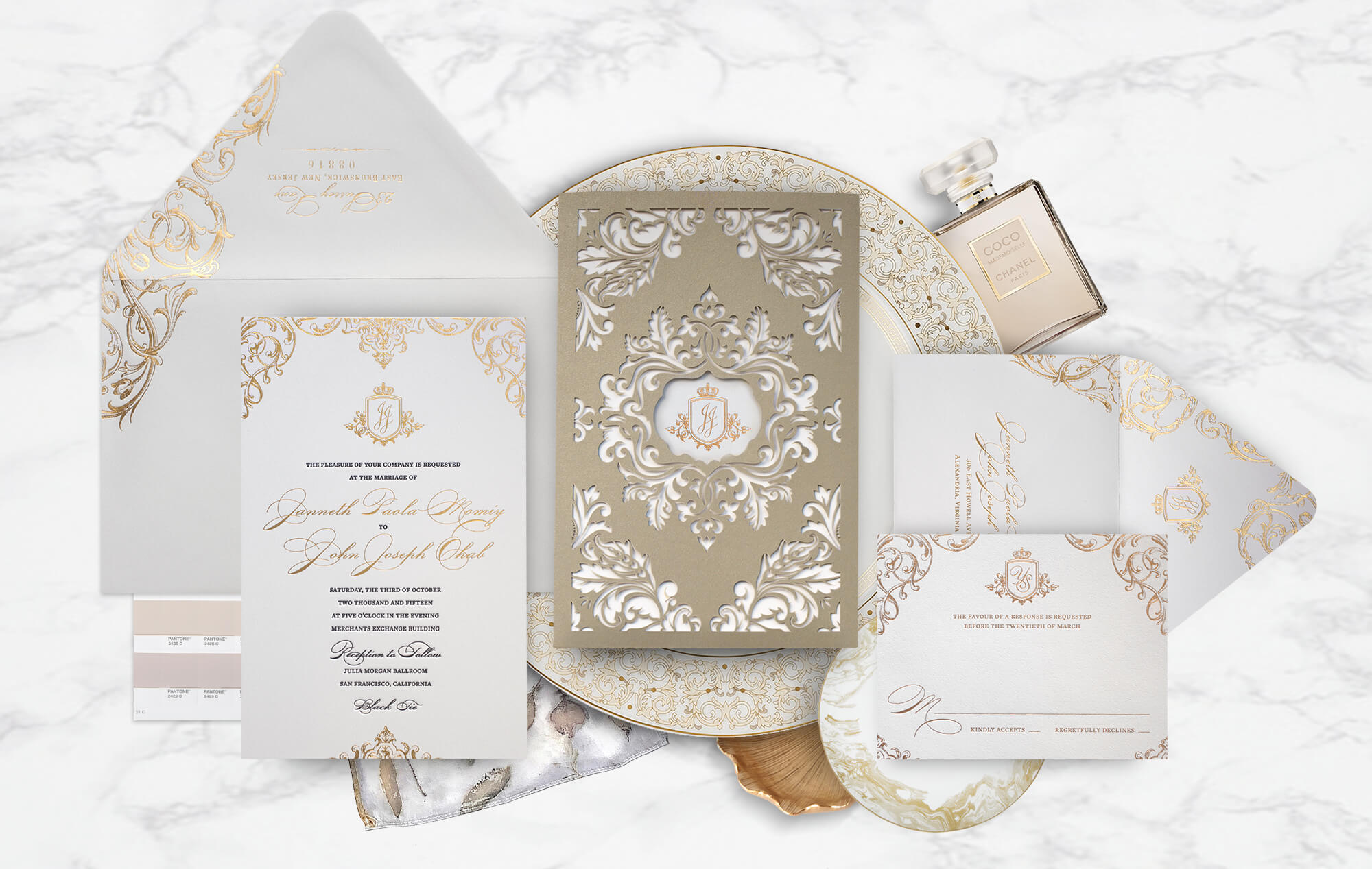 Opulent royal wedding invitation