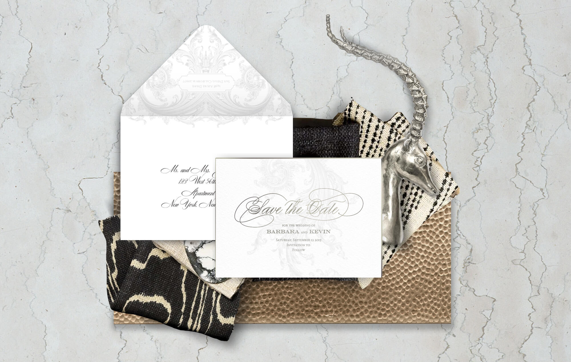 Opulent scrollwork wedding save the date