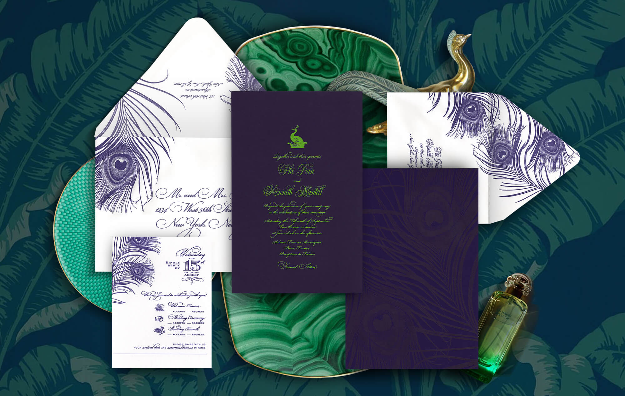 Peacock feather contemporary meets classic wedding invitation