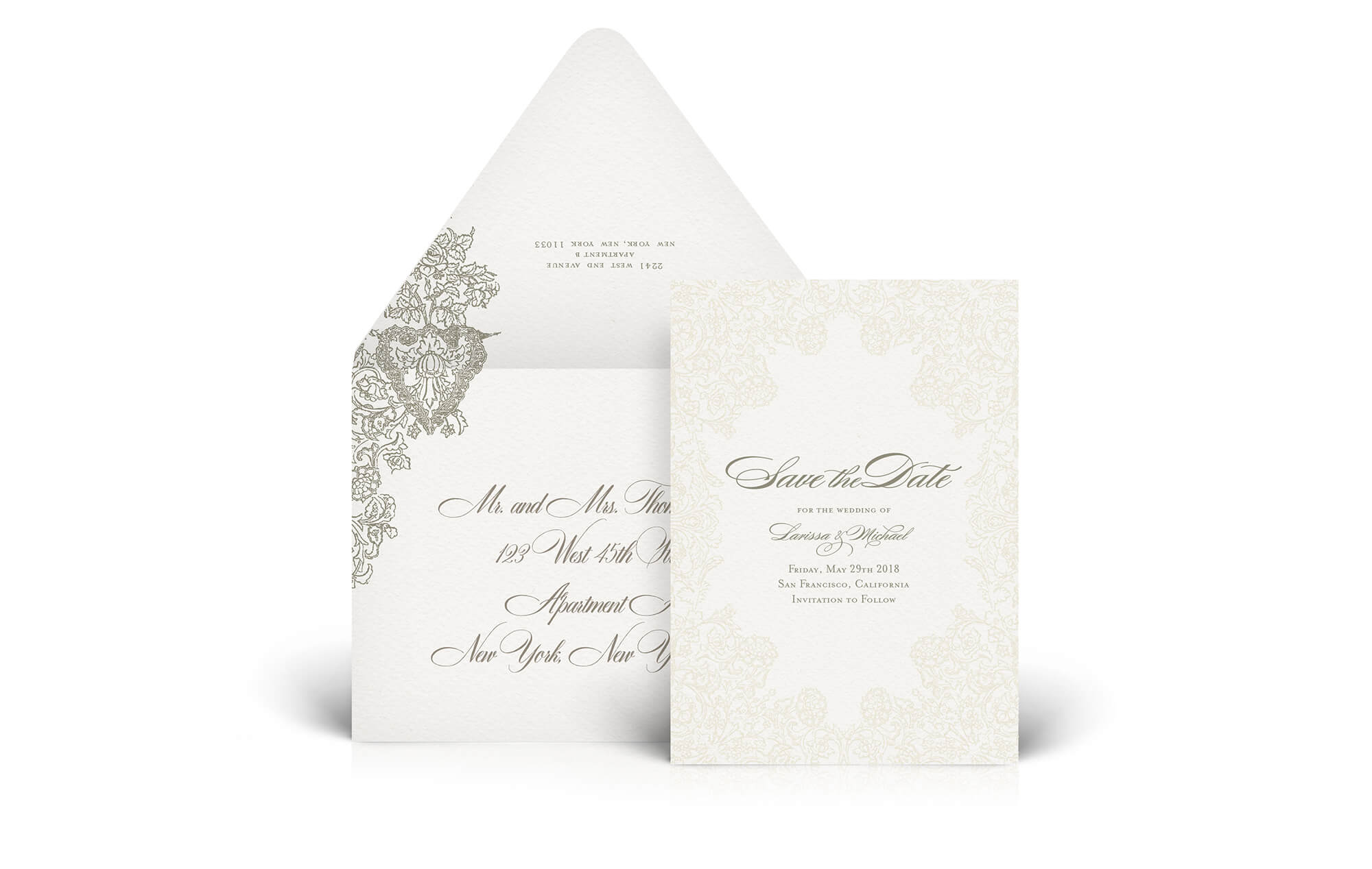 Romantic lace save the date