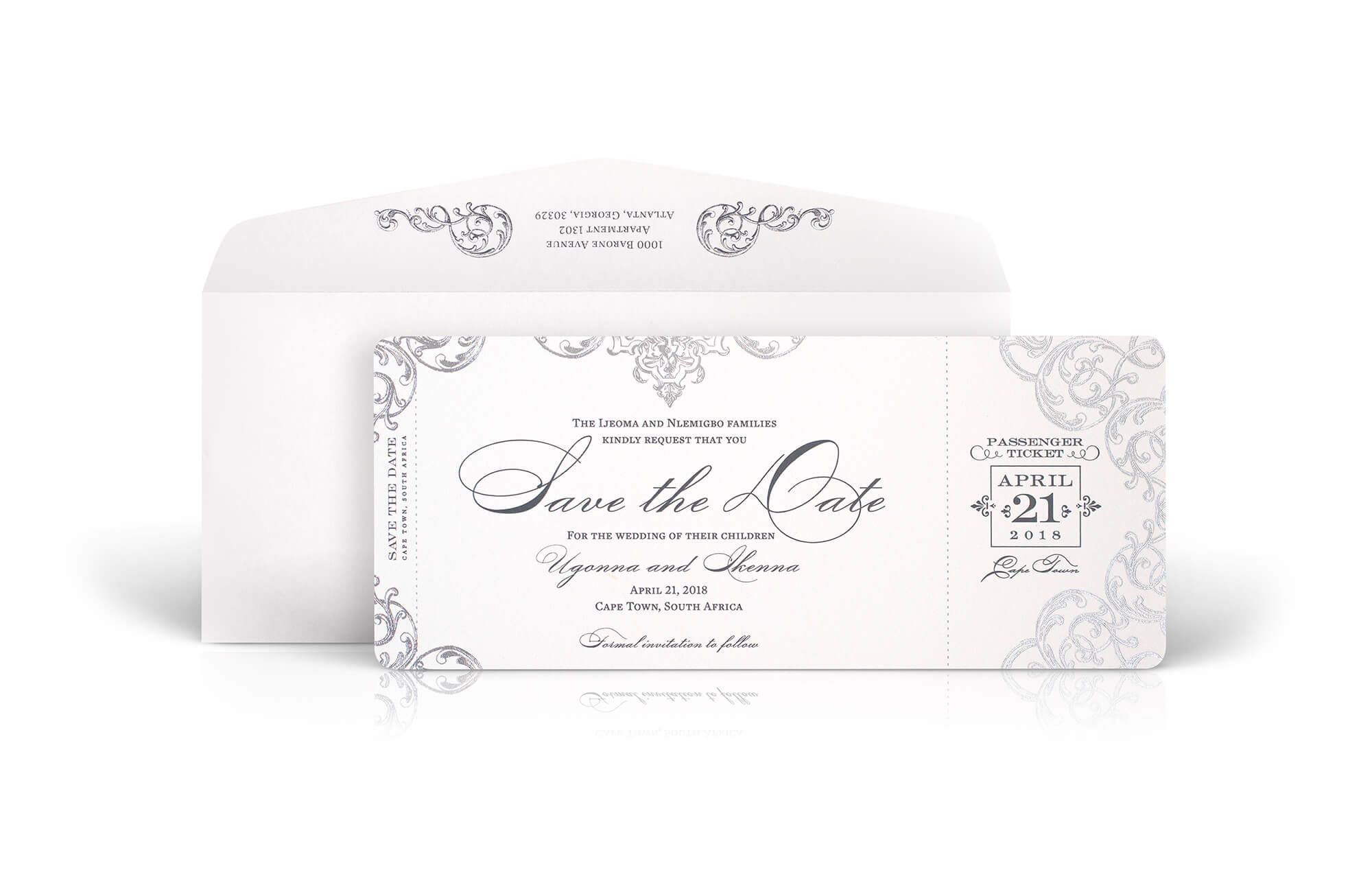 Ornate scrollwork save the date for a destination wedding