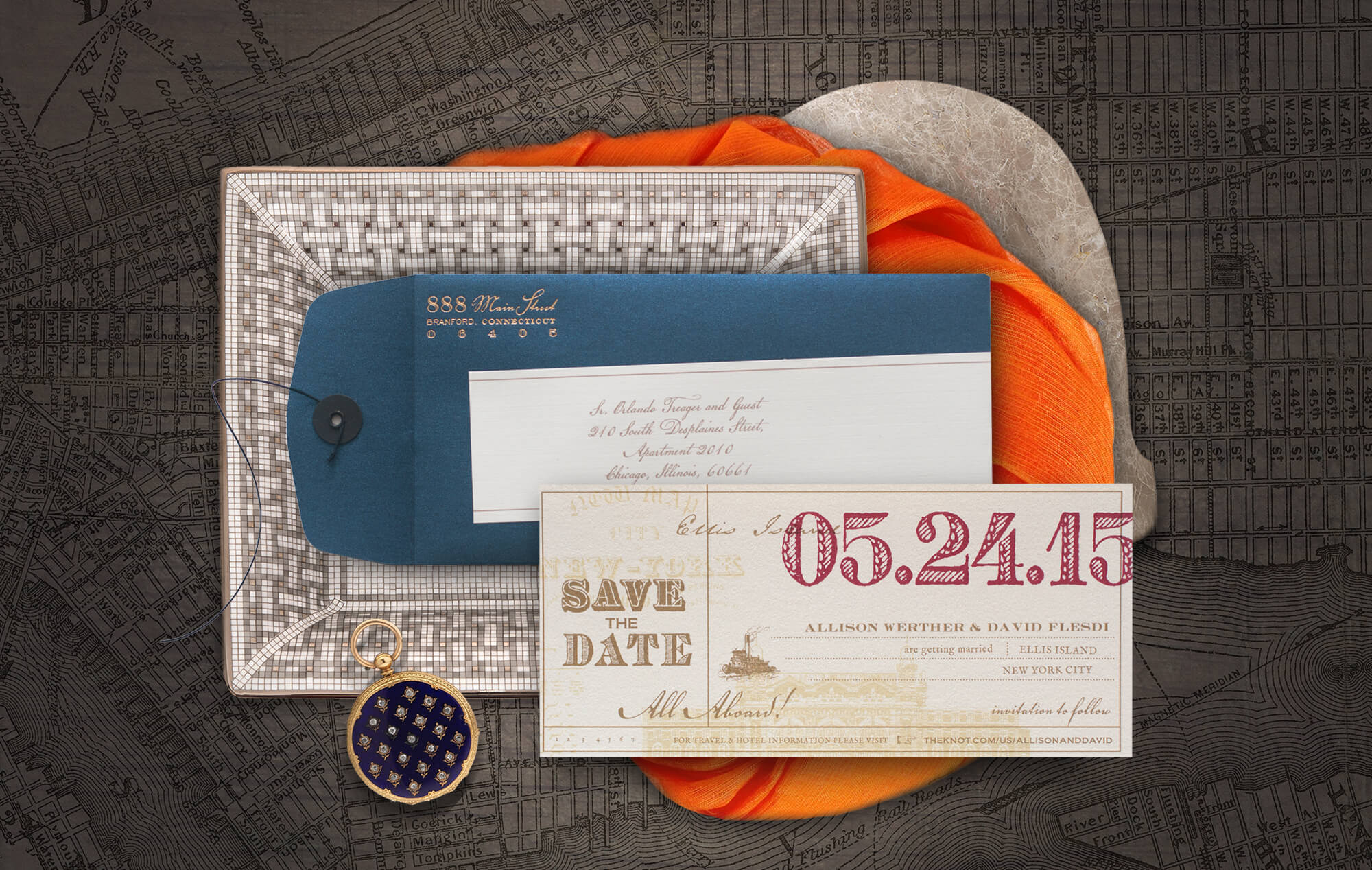 Ellis Island vintage save the date inspired by travel tickets