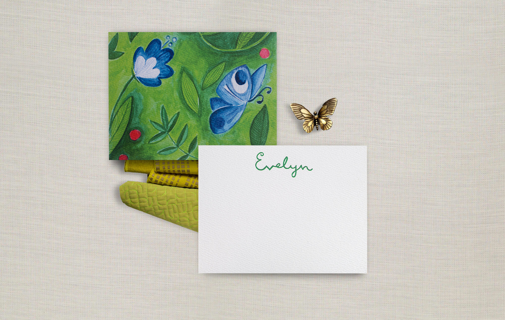 Butterfly and flower watercolor notecards
