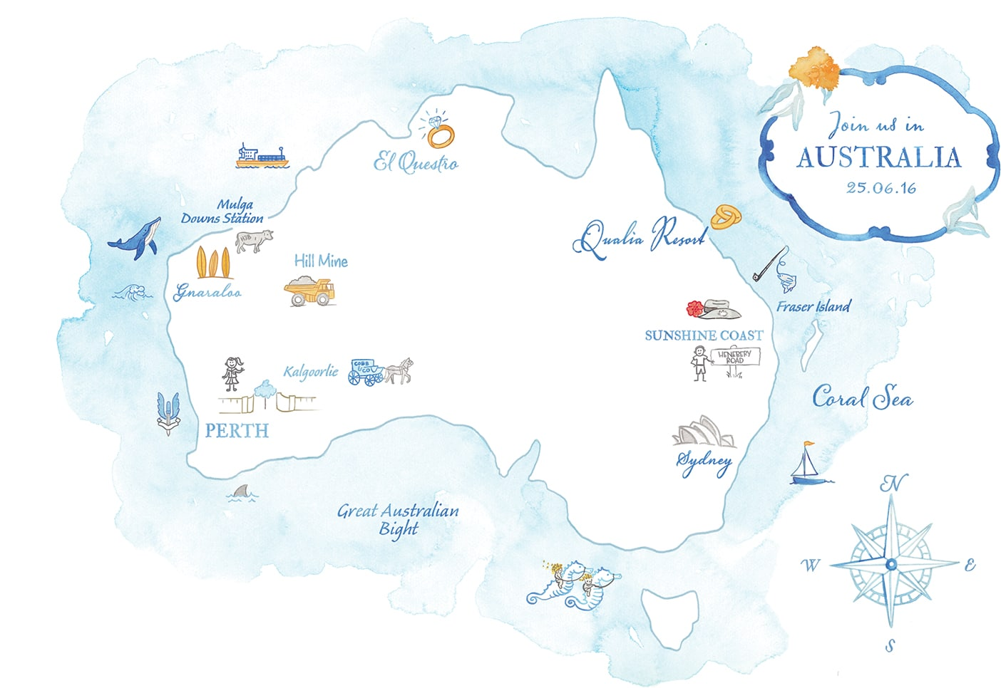 Watercolor wedding map of Australia
