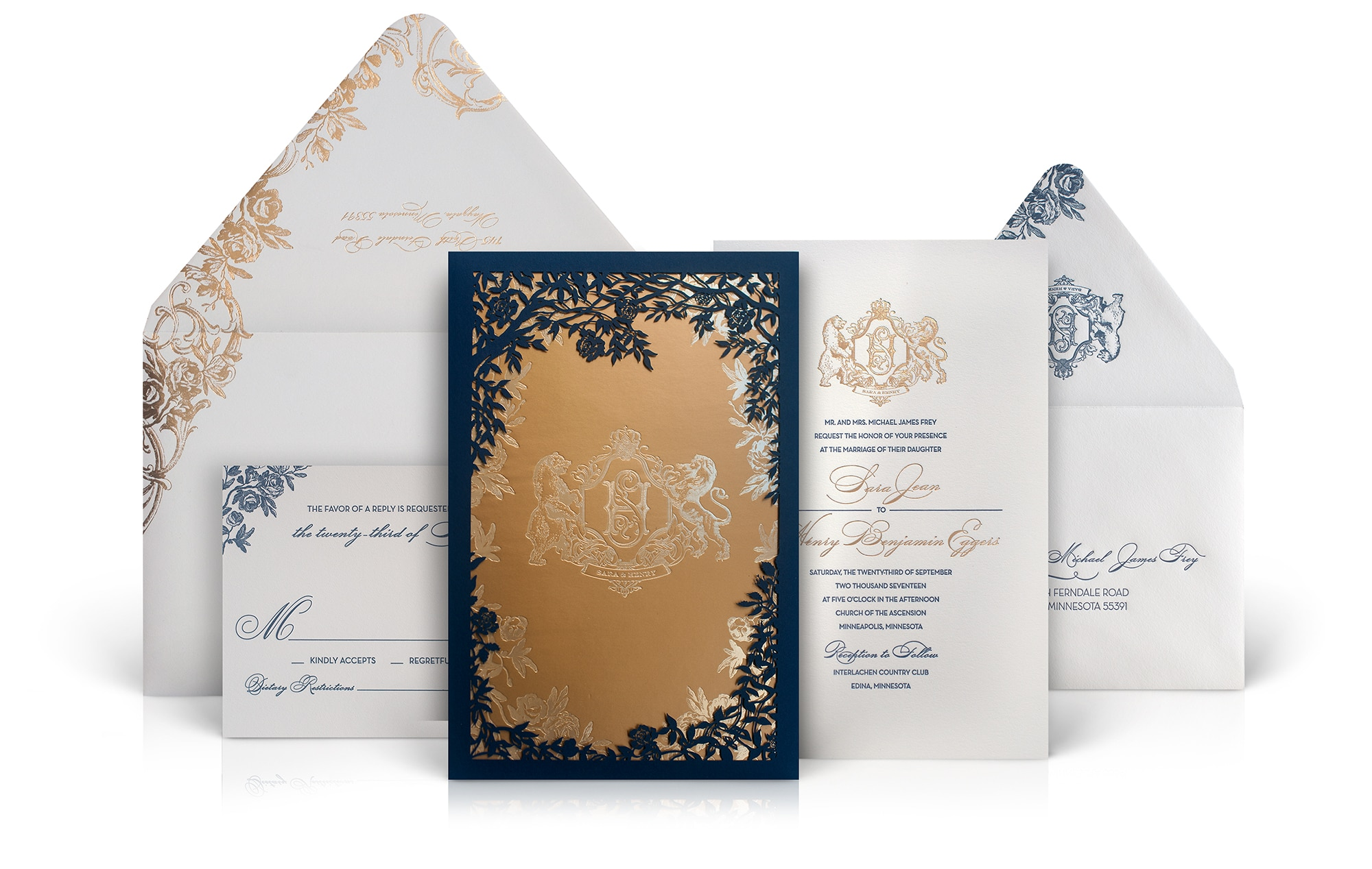 Ornate vintage luxury wedding invitation