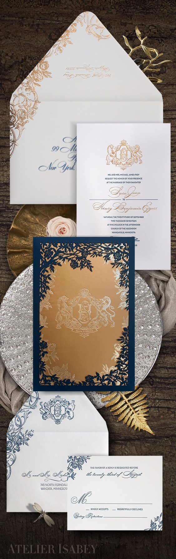 Beauty and the beast laser cut wedding invitation