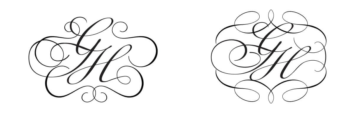 Calligraphy monograms with flourishes