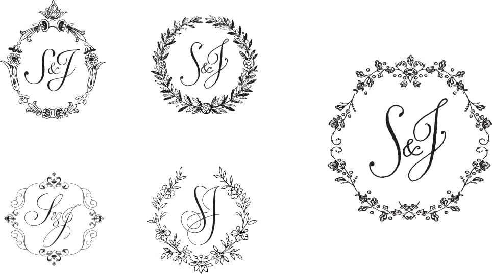 Monogram and wreath borders