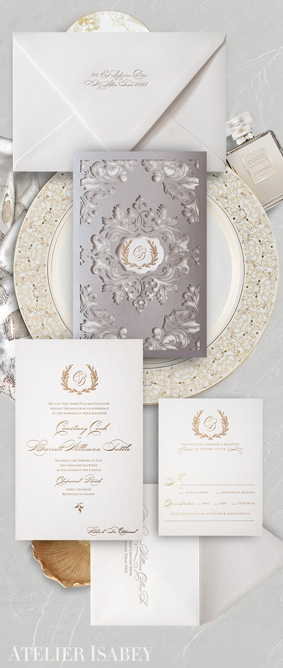 Classic laser cut wedding invitation with gold foil