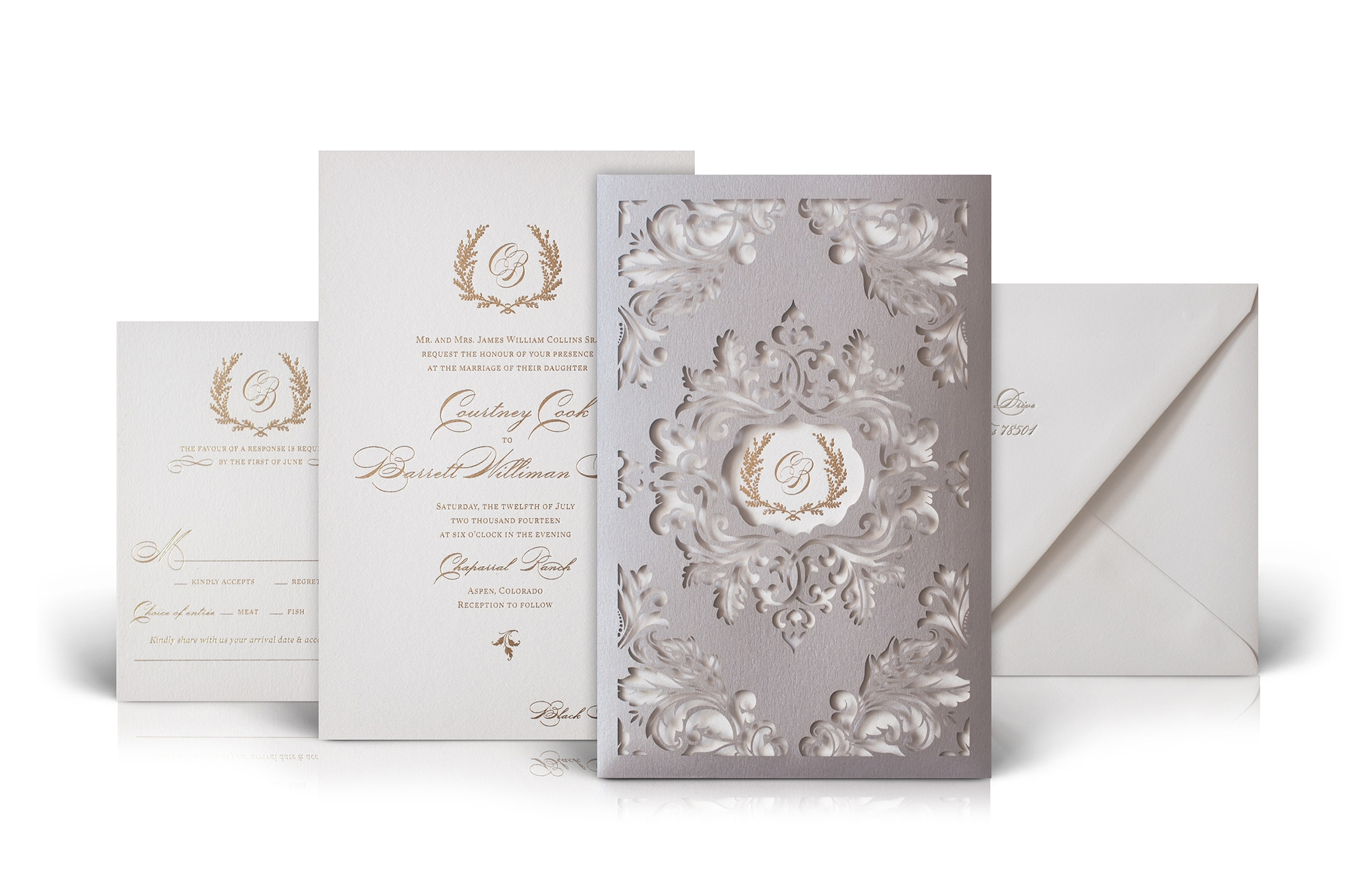 Classic scrollwork wedding invitation with laser cut sleeve