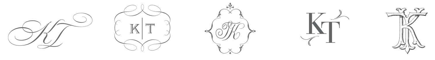 Classic wedding monogram options