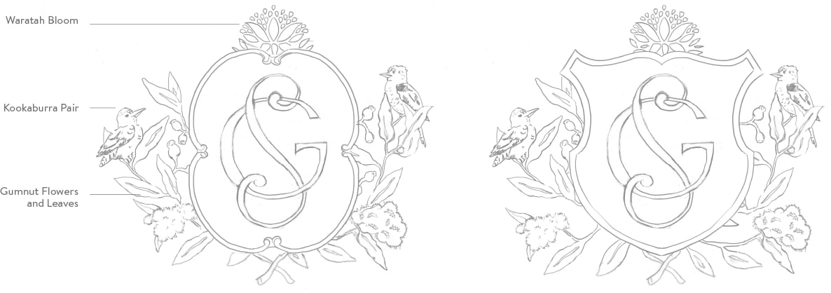 Custom crest sketches