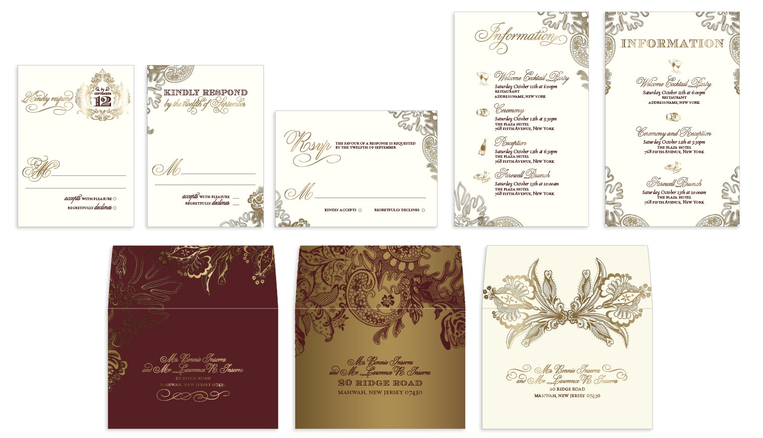 Custom lace wedding enclosure cards and envelopes