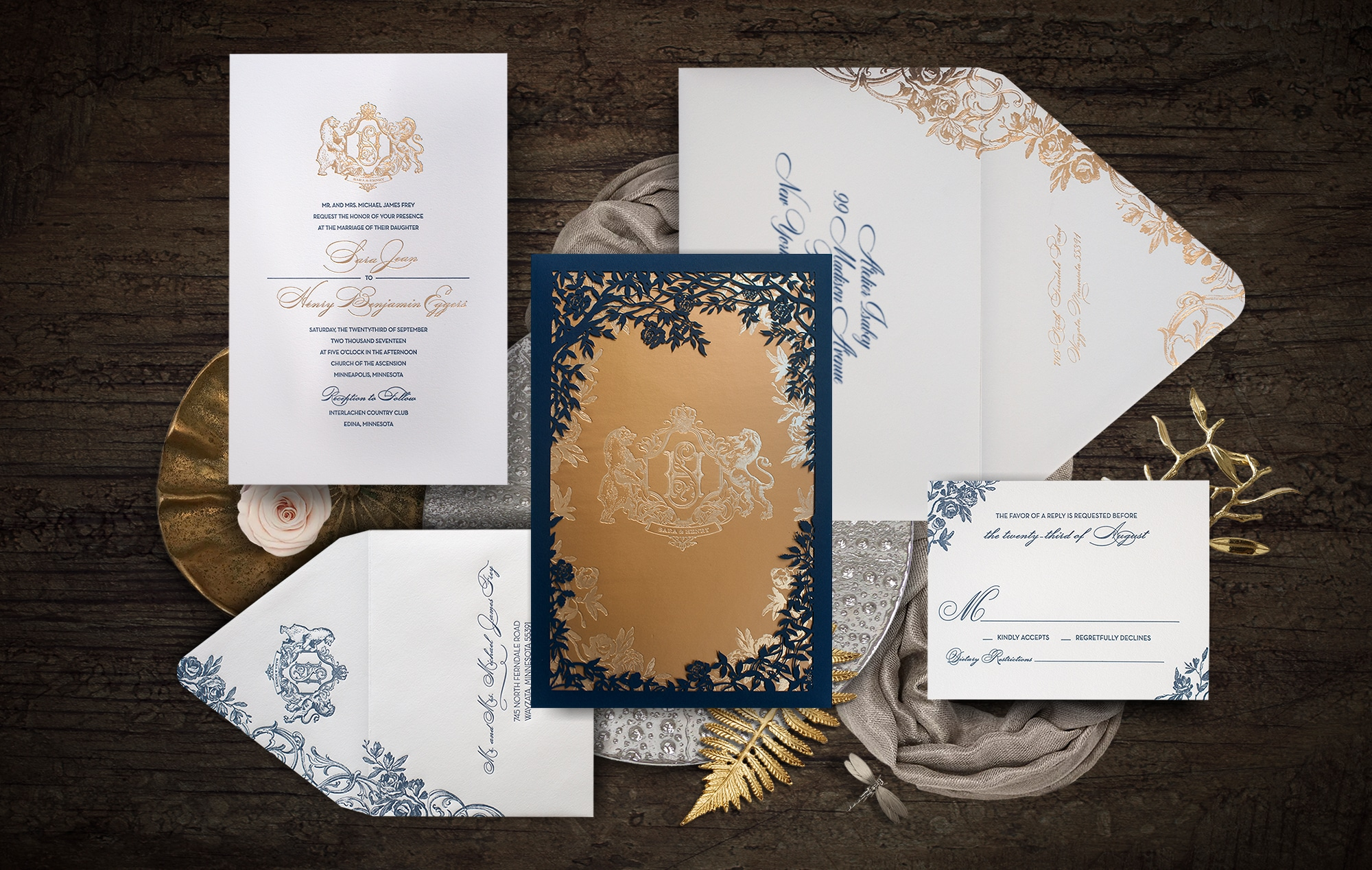 Enchanted castle laser cut wedding invitation