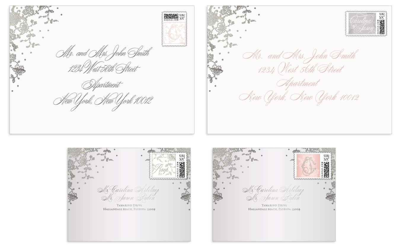 Design of envelopes and custom postage stamps