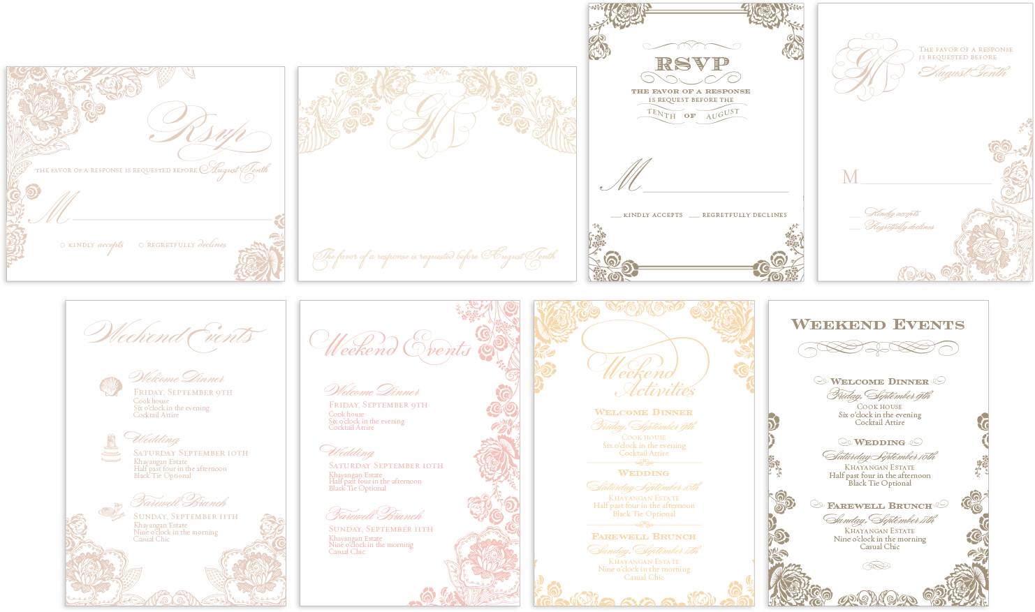 Floral wedding reply card sketches