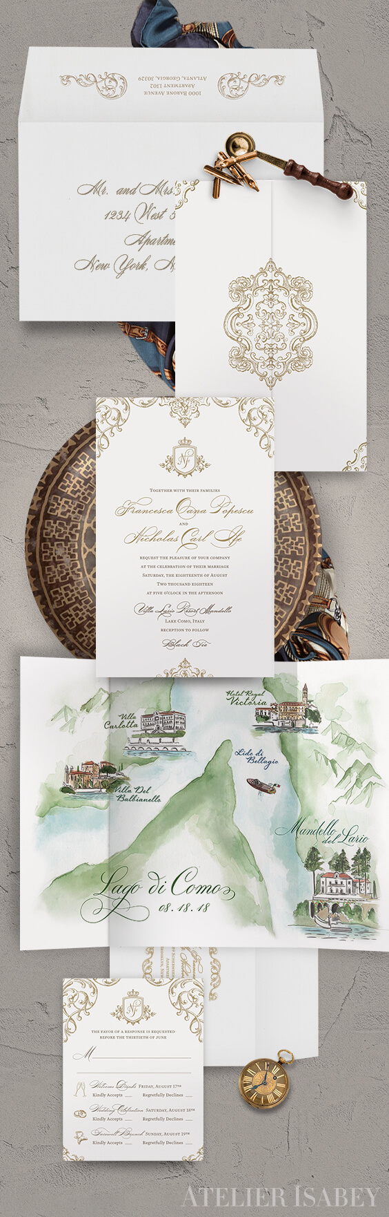 Classic wedding invitation with a watercolor map of Lake Como