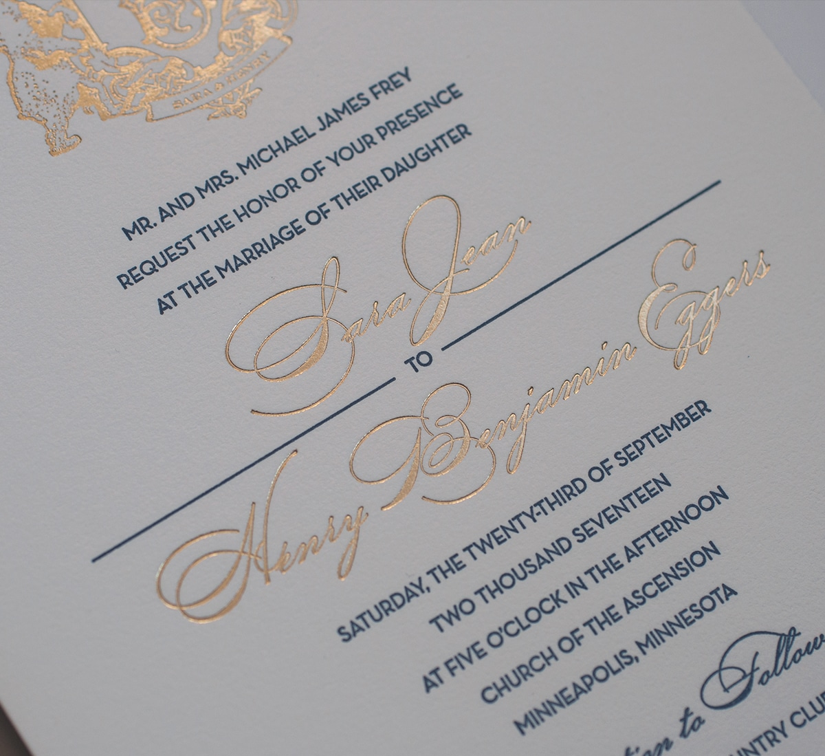 Gold foil and letterpress typography