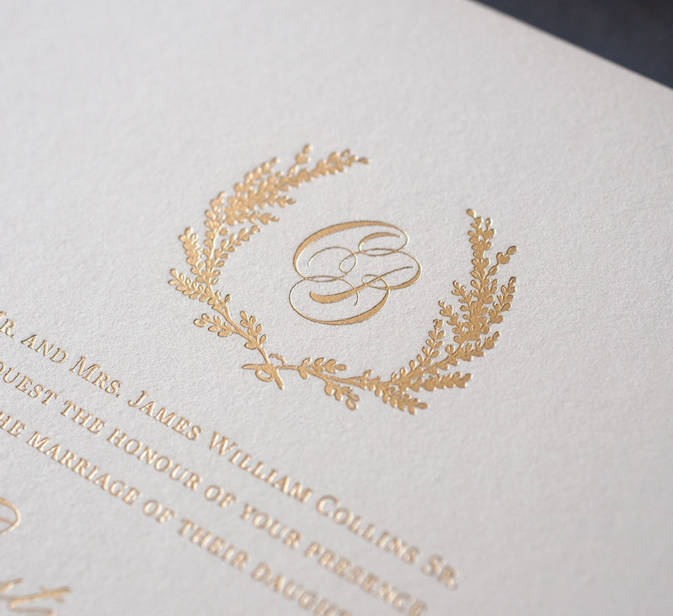Gold foil monogram and wreath border