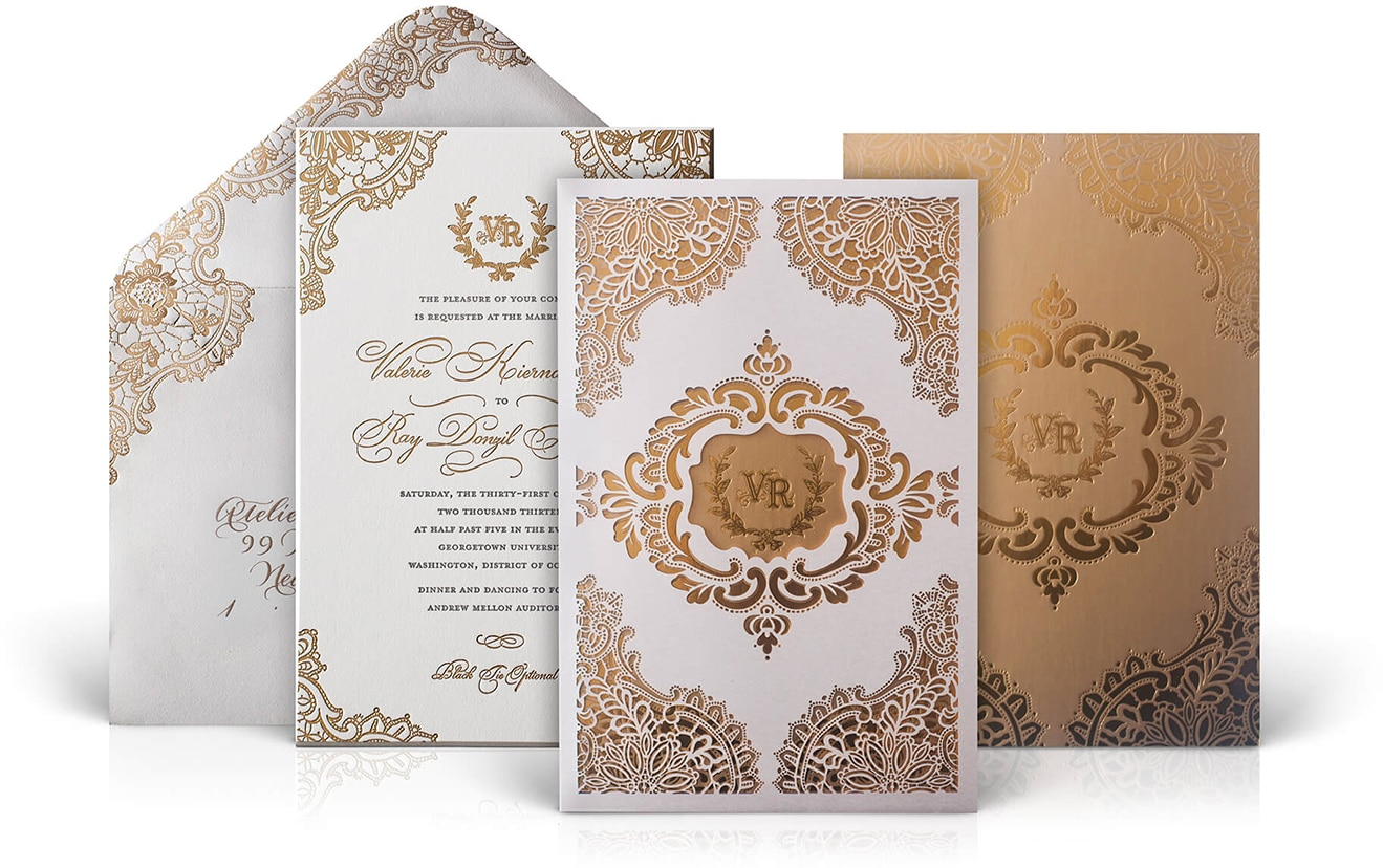 Andrew Mellon Auditorium luxury wedding invitation