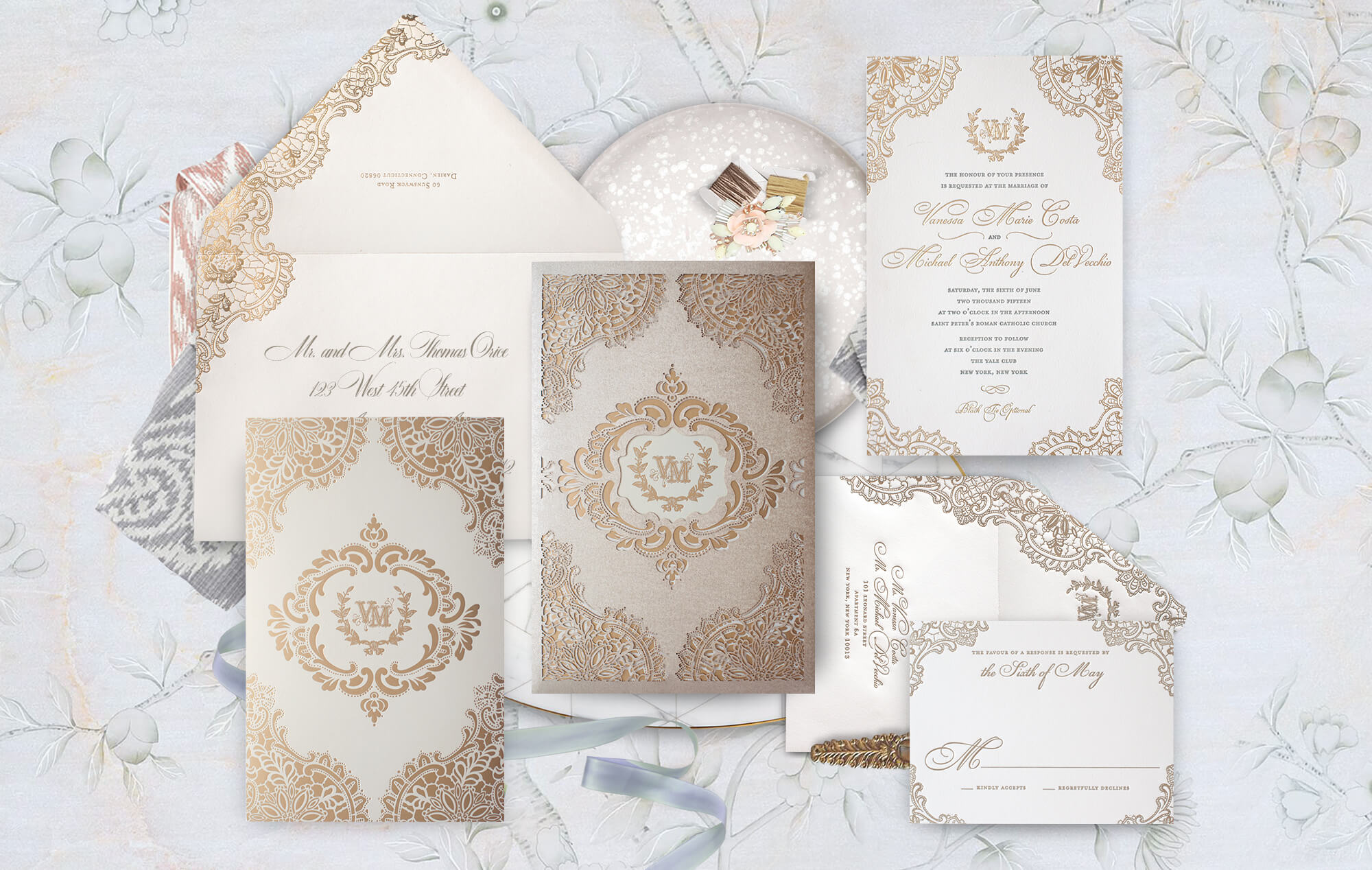 Gold laser cut ornate wedding invitation