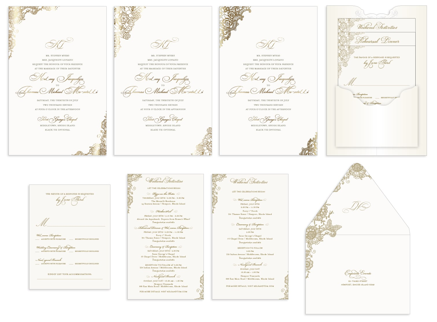 Lace invitation and card alternates
