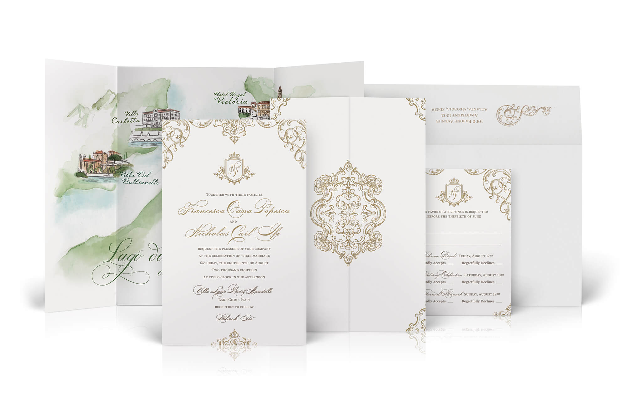 Lake Como wedding invitation