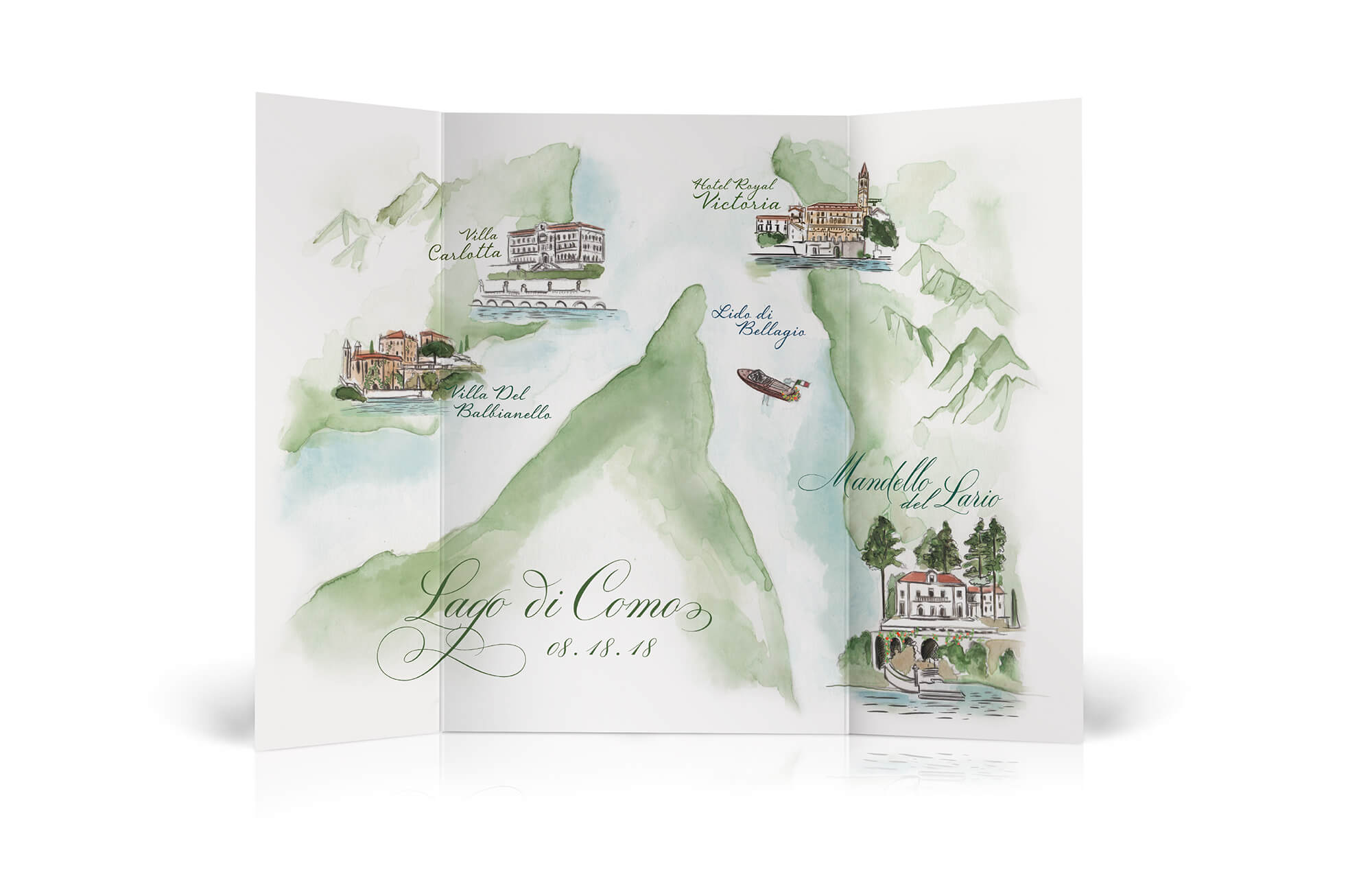 Watercolor Lake Como map