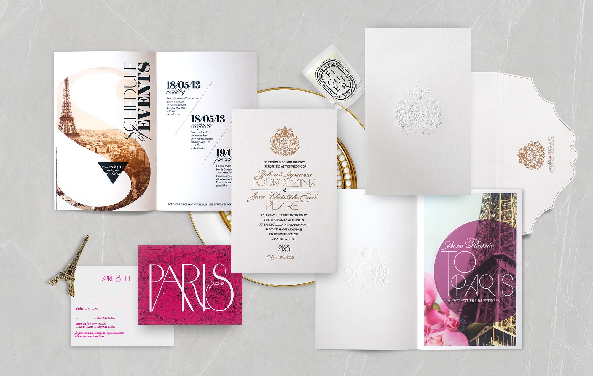 Classic meets modern Paris wedding invitation