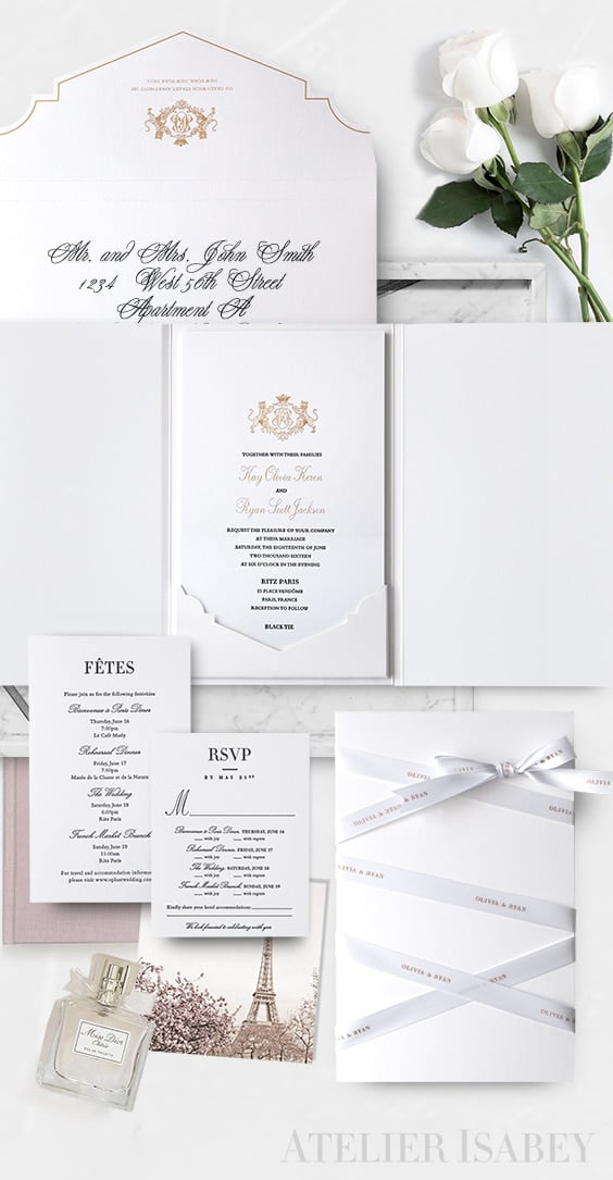 Luxury Paris destination wedding invitation inspired by Dior | by Atelier Isabey