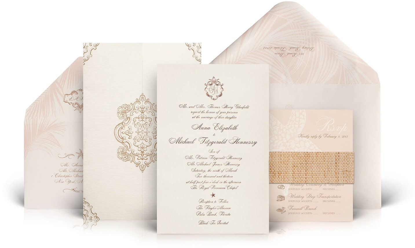 Pink and gold Palm Beach wedding invitation