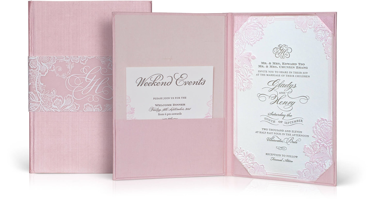 Pink silk wedding invitation