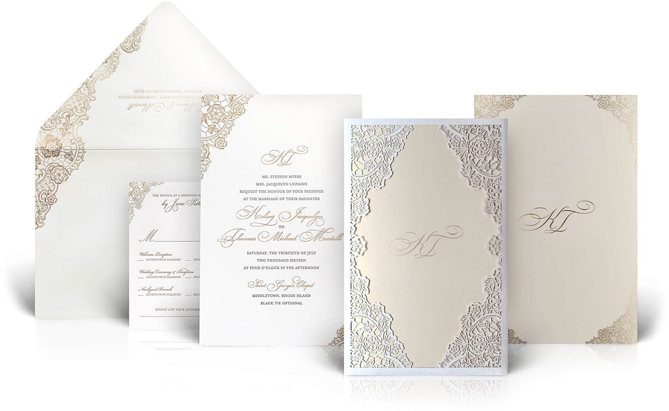 Rhode Island laser cut wedding invitation