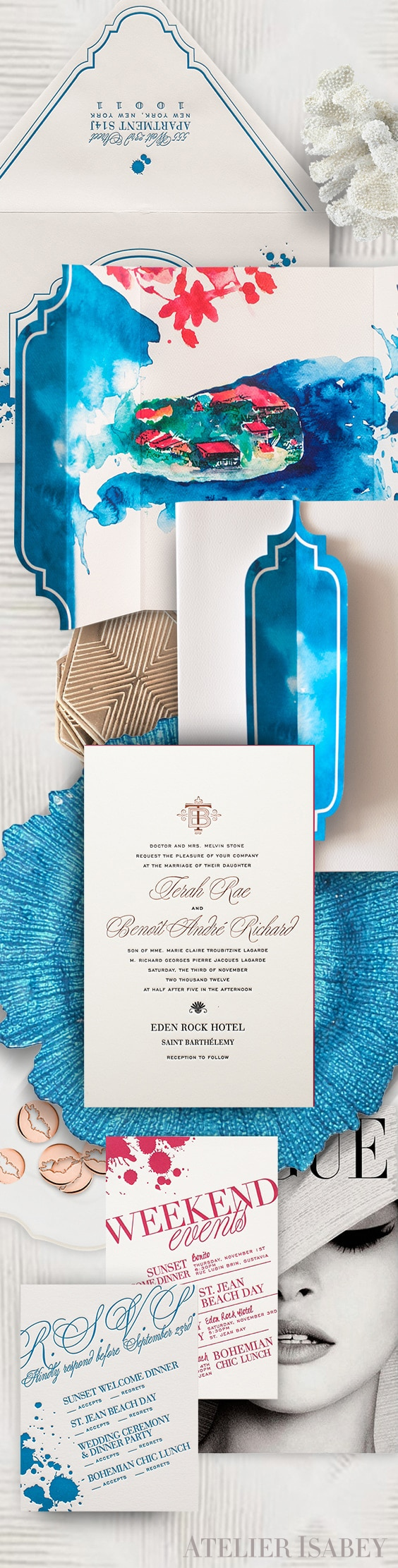 Eden Rock Saint Barts watercolor wedding invitation | By Atelier Isabey