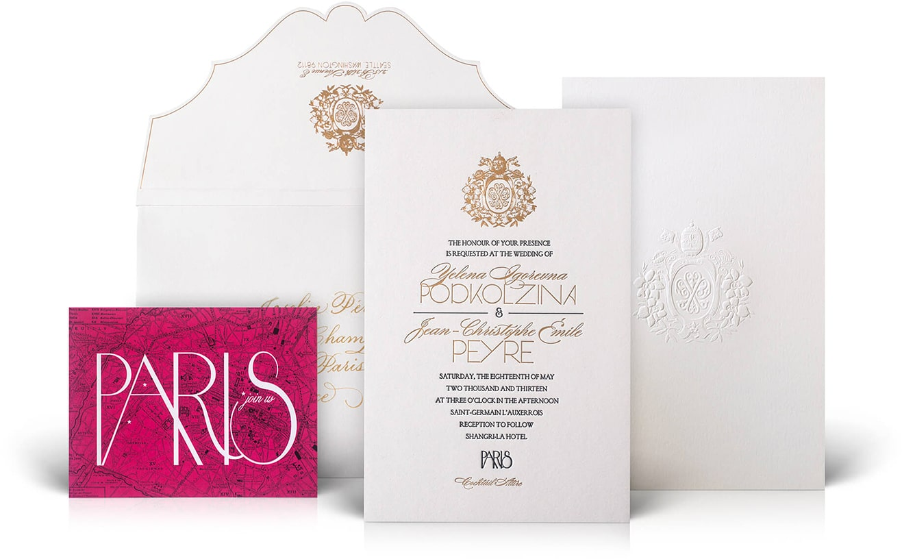 Shangri-La Paris luxury wedding invitation