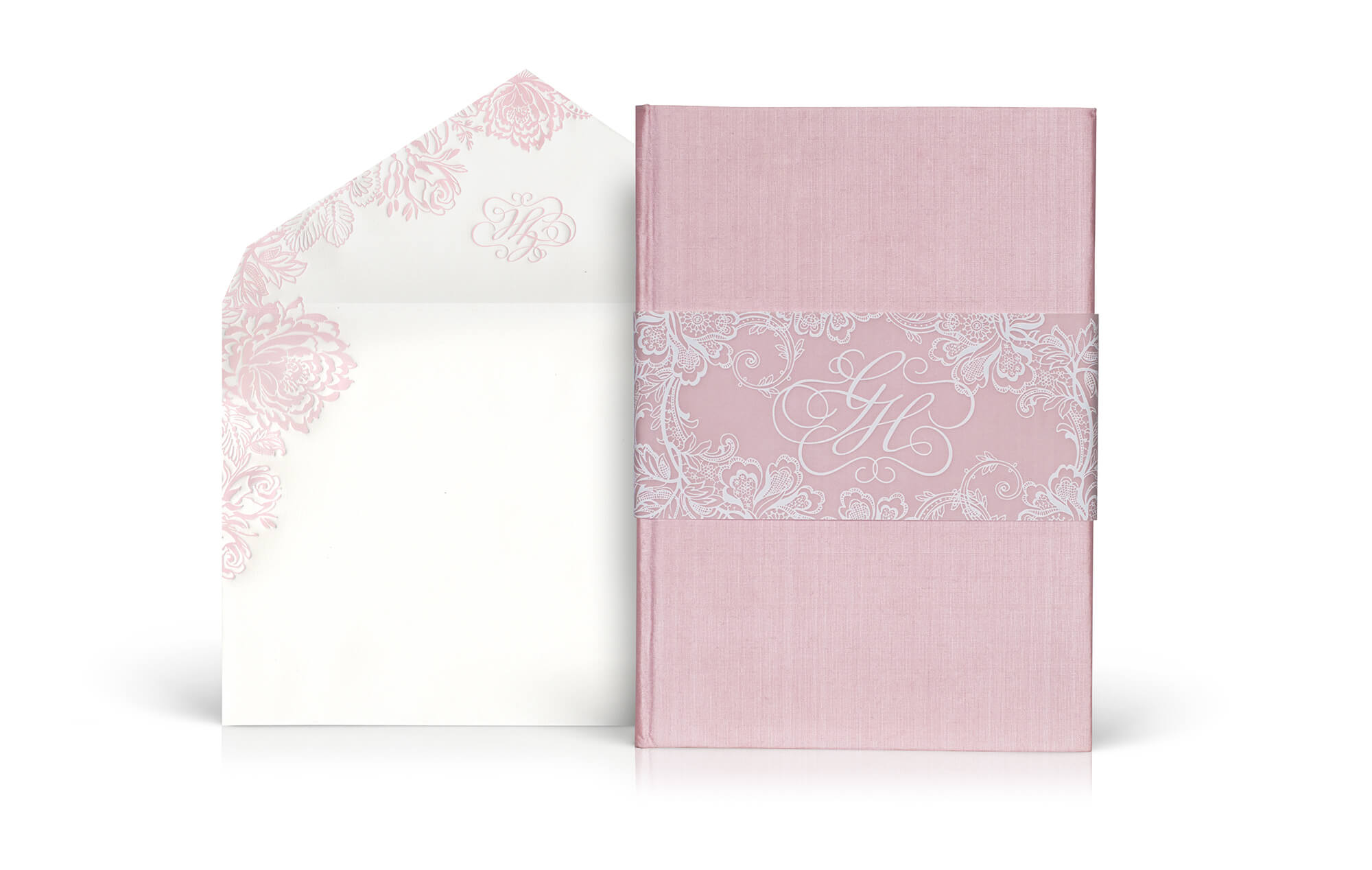 Pink silk folder wedding invitation