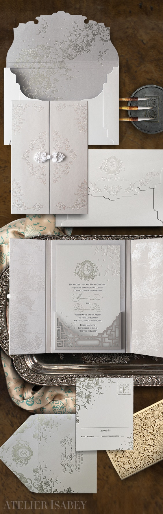 East meets West luxury wedding invitation