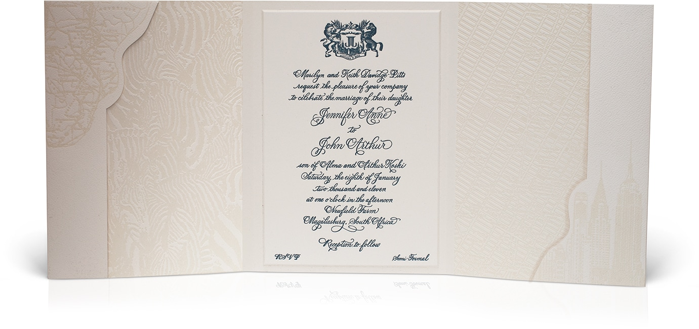 South Africa meets New York wedding invitation